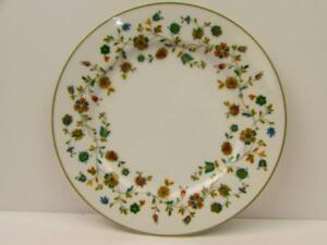 Raintree-by-Sango-Salad-Plate-Multicolor-Floral-Rim-Green-Trim-b132
