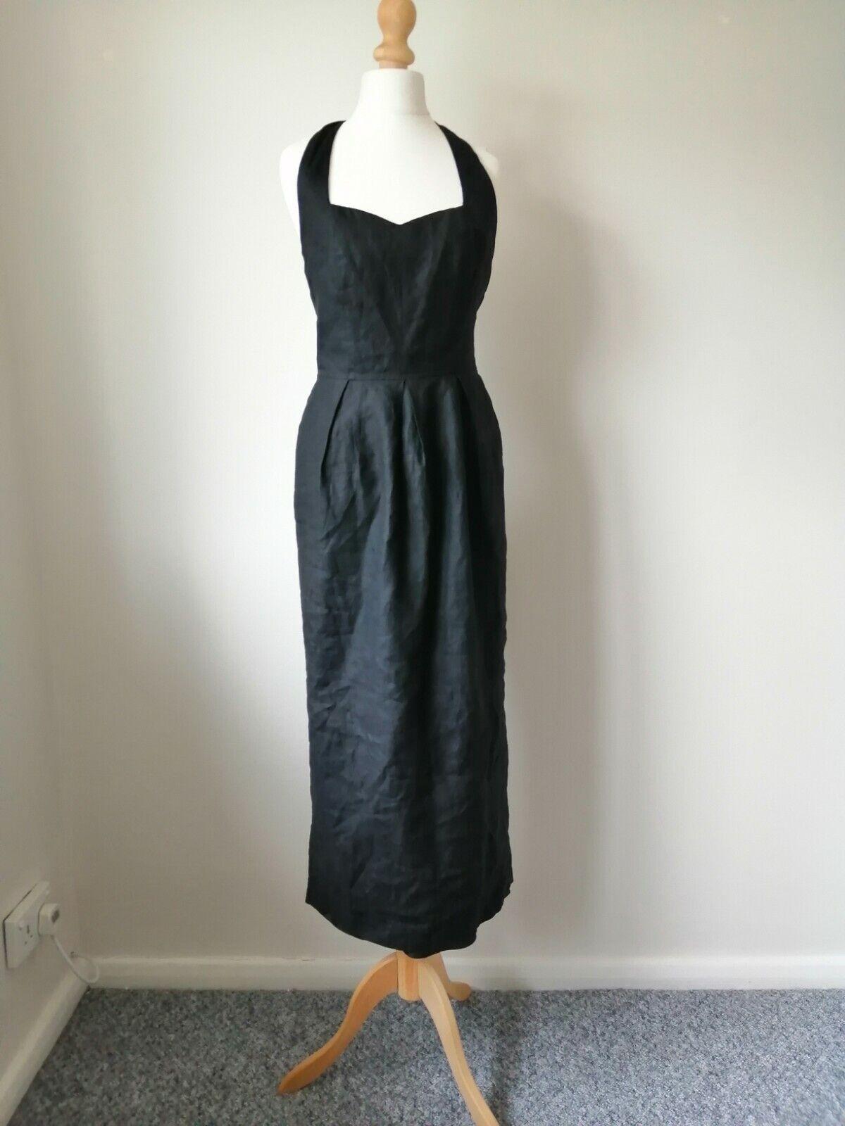 Genuine Vintage 1980s Laura Ashley Black Maxi Dress. Size 8/10