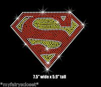 7.5 Superman Iron On Rhinestone Transfer For T Shirt Or Costume