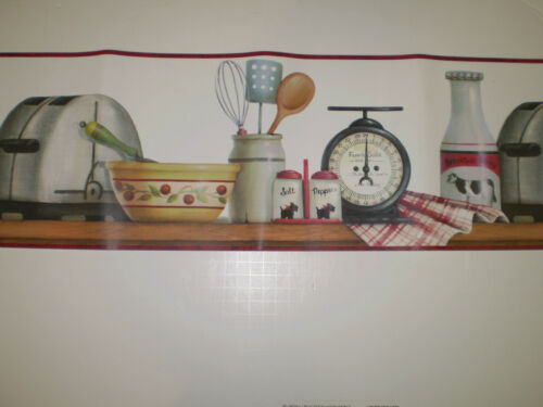 Red /& White Country Kitchen Border by Brewster  FP00411B