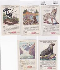 Lot of 5 Different 1930's Coca-Cola Nature Series Trading Cards