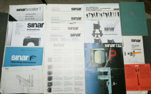 10 Original Manuals & Brochures   3 Copies For Sinar & Accessories. See Picture.