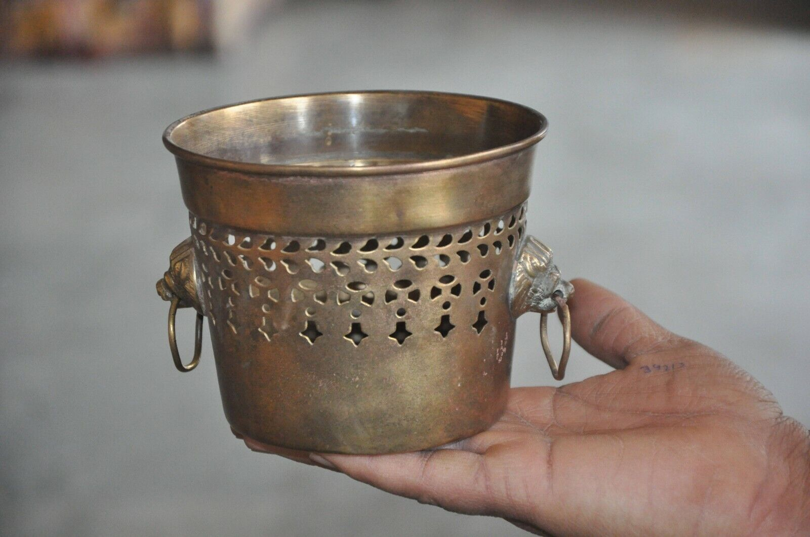 Old Brass Handcrafted Jali Cut Flower Pot/Planter