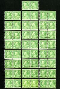 US-Stamps-597-F-VF-Lot-of-25-line-pairs-OG-NH-Scott-Value-100-00
