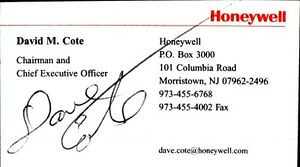 Details about hand signed business card of david cote chairmanceo of honeywell image is loading hand signed business card of david cote chairman reheart Images