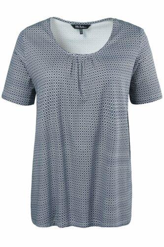 ULLA POPKEN T-Shirt Wabenmuster Raffung A-Linie dunkelblau NEU