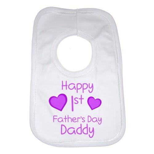 Heureux Jour 1er premiers Pères Drôle Bavoir bébé personnalisé coton pour filles