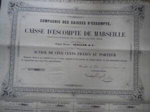 13 - BANQUE - CAISSE D ESCOMPTE de MARSEILLE -NINGLER et cie 1857 ZYH2xvHG-09154140-943015611