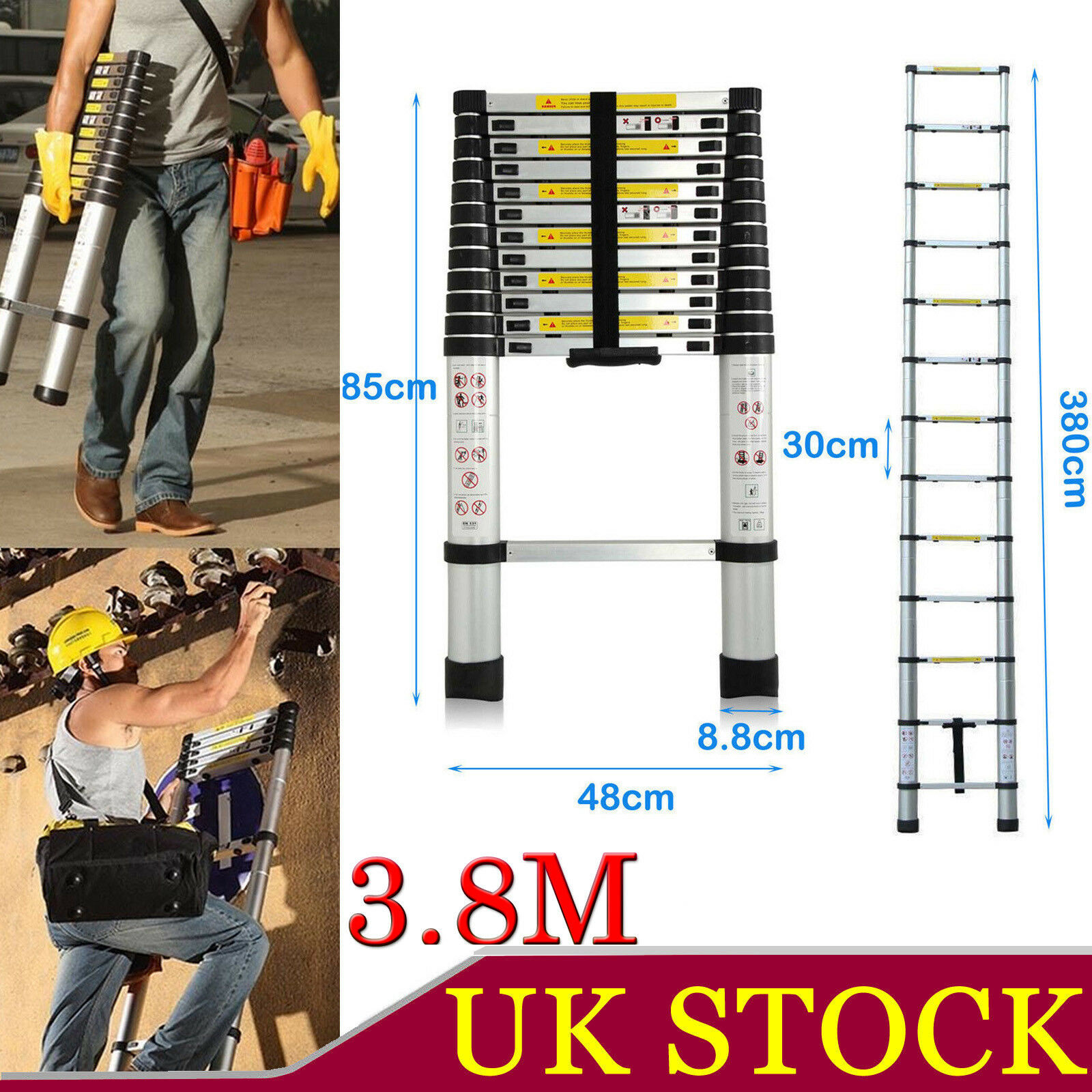 3.8Meter Aluminium Foldable Collapsible Retractable Telescoping Ladder Stairs UK