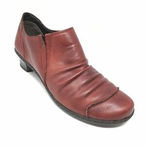 Women-039-s-Rieker-Booties-Clogs-Shoes-Size-39-EU-8-8-5-B-US-Red-Leather-Slip-On-AJ4