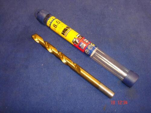 3 x Irwin HSS 8mm Titanium TiN Metal High Speed Steel Twist Jobber Drill Bit