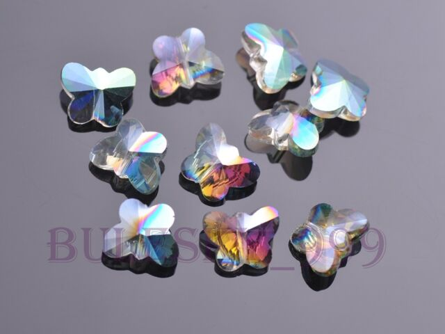 10pcs Charms Faceted Glass Crytal Butterfly Spacer Finding Beads 14mm 24 Color