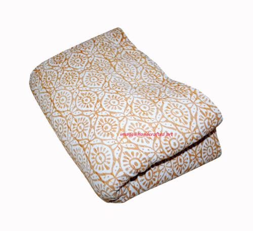 Vintage Yellow Block Print Kantha Quilt Handmade Cotton Bedspread Throw Blanket