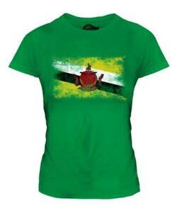 Brunei Distressed Flagge Damen T-Shirt Bruneiische Fußball Trikot Geschenk
