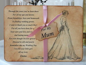 mum mother of the bride thank you card keepsake personalised vintage