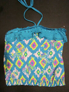 JUSTICE Girls NWT Halter Blue Sequin Trim Top Built In Bra NEW WITH TAGS! Sz 14