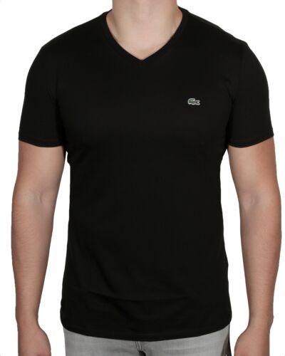 en corta algodón para cuello con de hombre Th6710 Pima Negro y manga 031 Lacoste camiseta Camiseta de V 51 wFAqYY