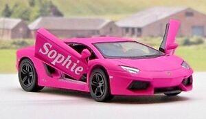 PERSONALISED-NAME-Gift-PINK-Girls-Lamborghini-Toy-Car-Stocking-Filler-Present