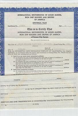 IBBMSHBH union life insurance certificate 1943 boiler ...