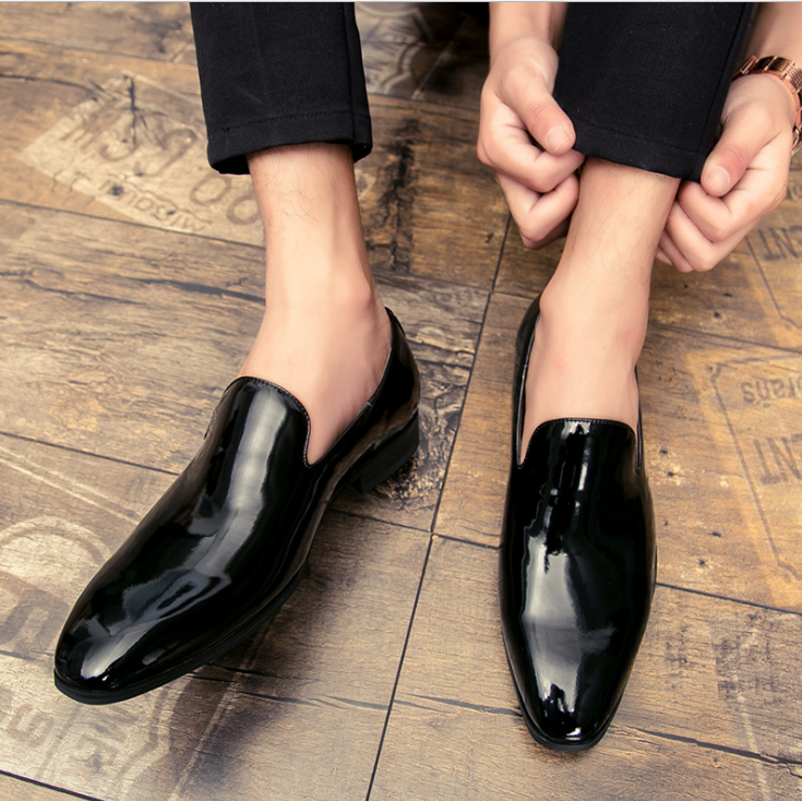 Mens Stylish Business Slip On Formal Patent Leather Pointy Toe Dress shoes Hd214