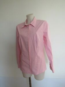 edle-Bluse-GOSSL-Gr-42-suess-in-rosa-offwhite-Vichy-Karo-modisch