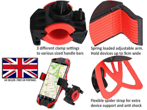 Bicycle Bike Mount Handlebar Phone Holder Grip 360° For ZTE Tempo Go