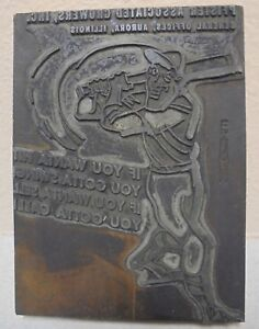 VINTAGE Letterpress Printing Block Baseball Player Store Add