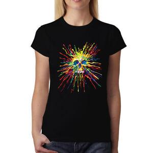 Teschio-Dipinto-Schizzare-Arcobaleno-Donna-T-shirt-XS-3XL