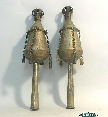 Pair Of Moroccan Silver Torah Finials Ca 1900 Judaica