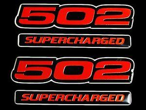 VMS 1 CHEVY 502 CI SUPERCHARGED ENGINE BIG BLOCK ALUMINUM EMBLEMS CHROME BLACK