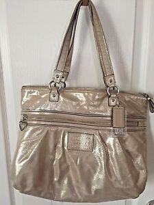 rare coach poppy metallic gold champagne leather large tote bag rh ebay com