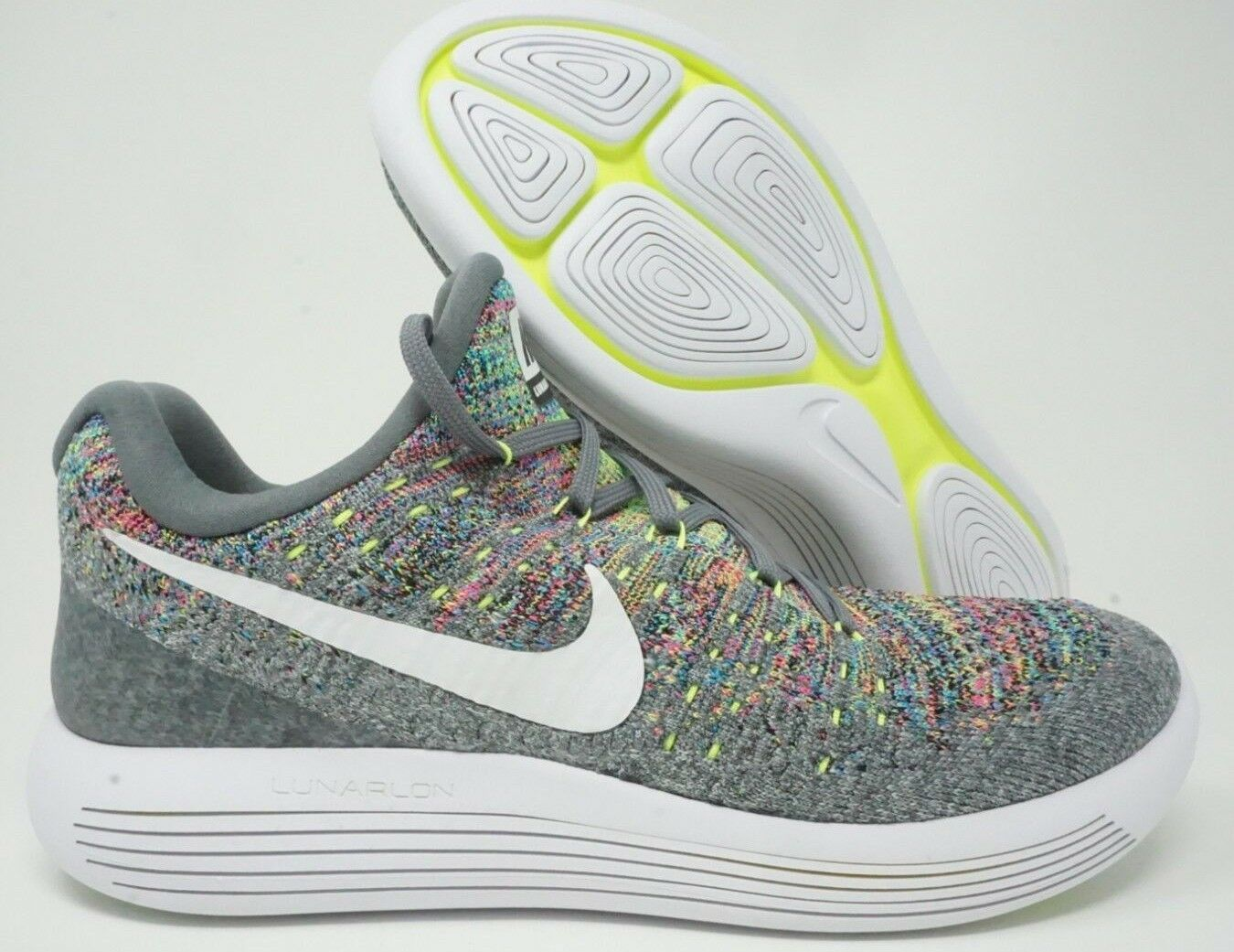 Nike Lunarepic Low Flyknit 2 Mens Running shoes Cool Grey White Size 9