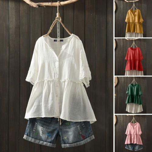 ZANZEA Women/'s Buttons V Neck Tee Shirt Tops Lace Crochet Summer T-Shirt Blouse