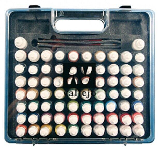 AV Vallejo 70175 modellllerlerl färg Basic Combo låda Set 72 färger, Brushes & Case