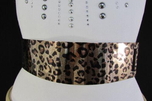 da Donna Beige Elastico Cintura Alla Moda Oro Stampa Animale Leopardo Nero