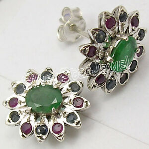 RUBY EMERALD /& SAPPHIRE GEMSTONE STUDDED EARRING IN.925 STERLING SILVER ES1629