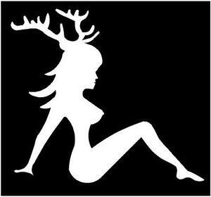Trucker Girl Buck Decal mudflap hunting Deer Jeep woman