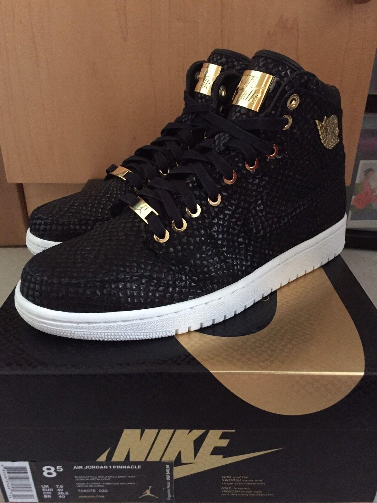 New Pinnacle Black Jordan 1 Retro Size 8.5 24 K gold 705070-030 Nike Bred Top 3