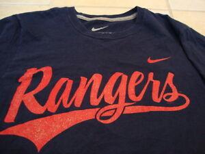 f7af1985 Details about MLB Texas Rangers Major League Baseball Fan Nike Apparel Blue  T Shirt S