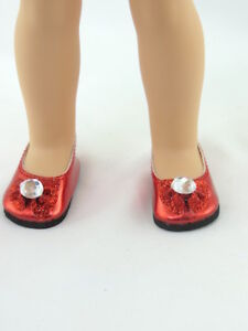 """Red Ballet Bow Flats Shoes Fits Wellie Wishers 14.5/"""" American Girl Clothes"""