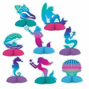 MERMAID-UNDER-THE-SEA-HONEYCOMB-MINI-CENTREPIECES-PACK-8-PARTY-DECORATIONS