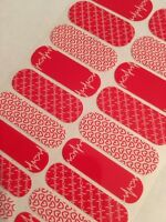 Jamberry Retired Aha Nail Wraps Heart Health Awareness Glossy Red Full Sheet