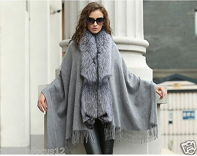 Opulent Real Best Fox Fur Pashm Poncho Cape//Coat//Wraps//Black with Silver Fox