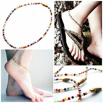 AFRICAN MAASAI BEADED COLOURFUL  ANKLET, HANDMADE BOHO ETHNIC TRIBAL JEWELLERY
