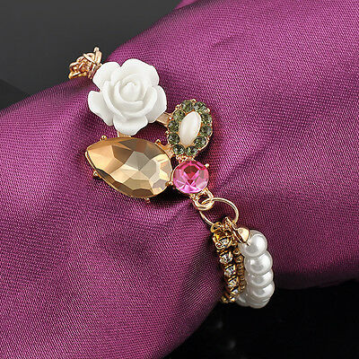 Korean Chic Betsey Johnson Crystal Rhinestone Rose Flower Three-Layer Bracelet