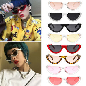 8b7b44f359 Women Vintage Half Frame Cat Eye Sunglasses Sexy Ladies Fashion ...