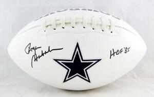 Roger-Staubach-Autographed-Dallas-Cowboys-Logo-Football-w-HOF-JSA-W-Auth