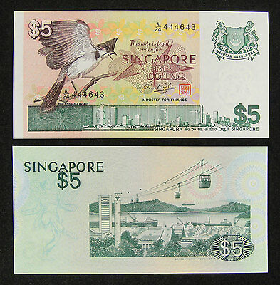 SINGAPORE 5 DOLLARS P10 1976 BIRD CABLE CAR UNC ANIMAL WILD MONEY BILL BANK NOTE