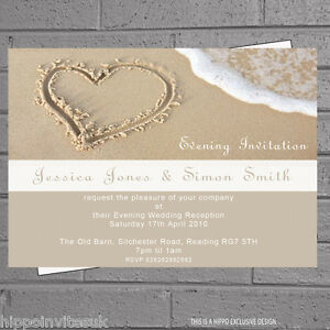 beach wedding invitation in the sand wedding evening day reception 1590