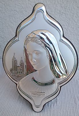 Medjugorje Our Lady Blessed Virgin Mary STERLING SILVER Picture Plaque singed